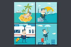 Businessman Cartoon Character Travel