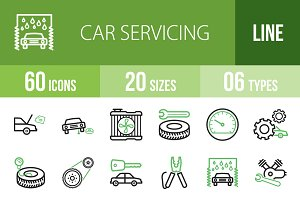 60 Car Servicing Green&Black Icons