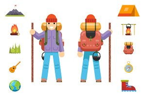 Backpaker Mountain Travel Icons Set
