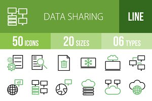 50 Data Sharing Green & Black Icons