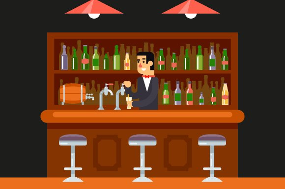 Bar illustration flat design illustrations creative market