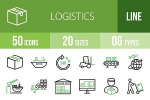 50 Logistics Line Green&Black Icons