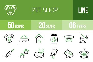 50 Pet Shop Line Green & Black Icons