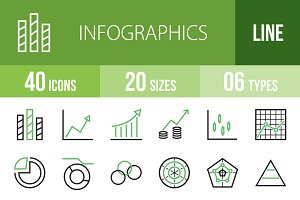 40 Infographics Green & Black Icons