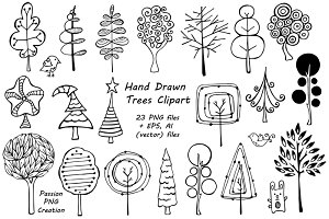 Hand Drawn Trees Clipart