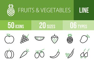 50 Fruit Vegetable Green&Black Icons
