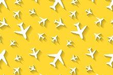 White airplane icons on yellow