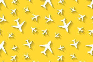 White airplane icons on yellow