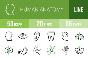 50 Human Anatomy Green & Black Icons