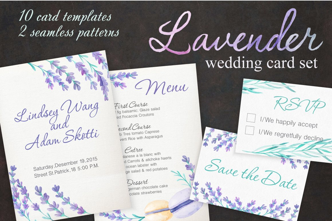 Lavender Wedding Card Set ~ Invitation Templates ~ Creative Market