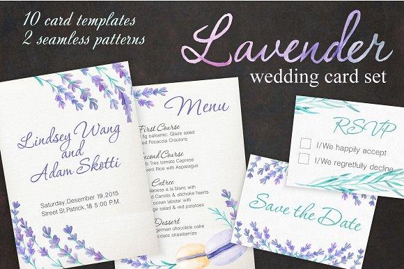 lavender wedding card set invitation templates creative market
