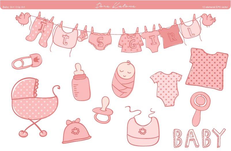 Baby Shower Clip Art Illustrations Creative Market