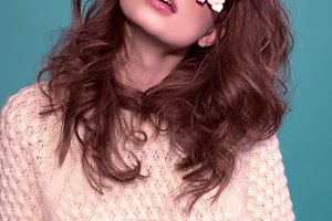 Fashion woman mask sunglasses design decorative portrait