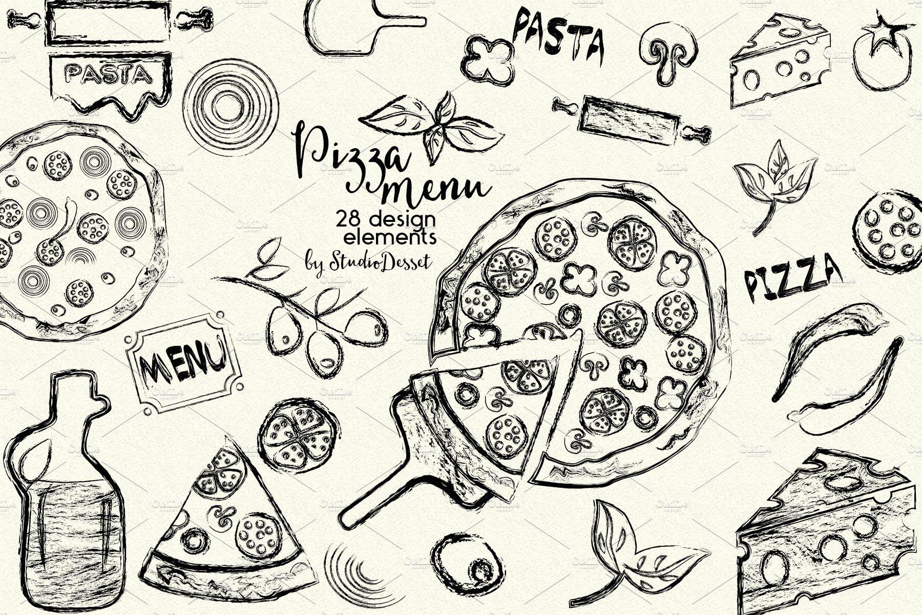 Pizza Menu ~ Illustrations ~ Creative Market