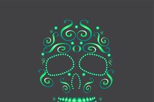 Skull vector neon green