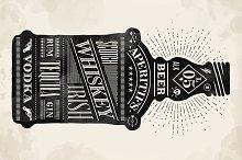 Poster bottle. Hand drawn lettering