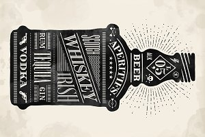Poster bottle. Hand drawn lettering