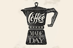 Poster coffee pot moka