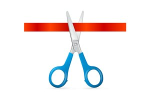 Scissors Cut Red Ribbon. Vector