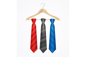 Tie Set on Wooden Hanger. Vector