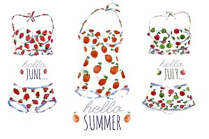 Summer swimsuits and fruts.