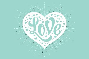 Hand lettering Love in white heart