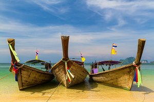 Longtail boats on the Beach