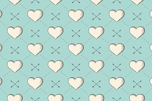 Pattern with heart and arrows