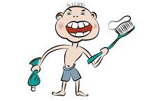 Boy prepare to brush his teeth