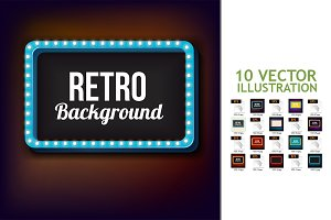 10Night Retro Background with Lights