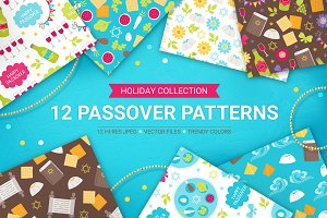 12 Passover Seamless Patterns