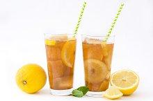 Ice tea with lemon. Isolated photo