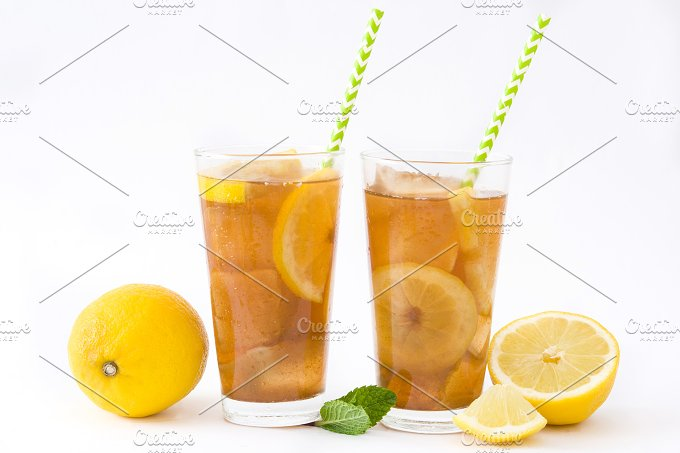 Ice tea with lemon. Isolated photo - Food & Drink