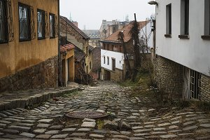 Old medieval street in Buda district