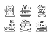 Set line icons of machine tool