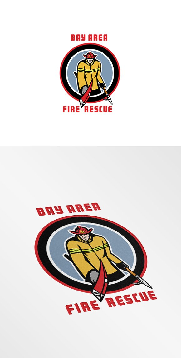 bay area fire rescue logo logo templates creative market