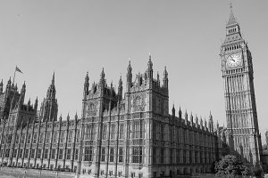 Houses of Parliament in London in black and white