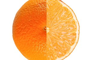 Orange fruit full and sliced