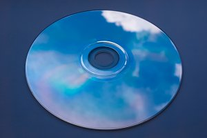 Blue sky reflected on CD