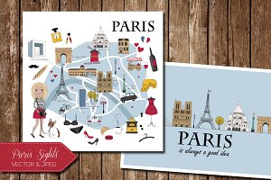 Paris Map and Card with Lamdmarks