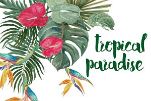 Watercolor tropical paradise