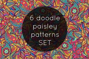 6 doodle paisley patterns SET