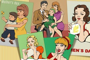 Set of people retro cartoon
