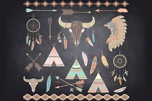 Chalkboard Tribal ClipArt