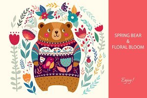 Spring bear and floral bloom