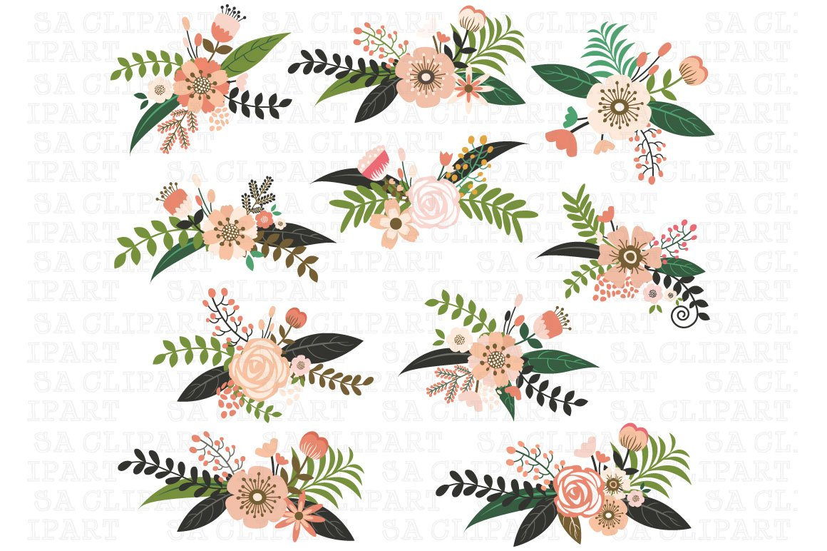 Wedding Floral Clipart Custom Designed Illustrations Creative