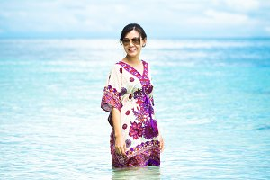 Portrait cute girl in nice sea beach