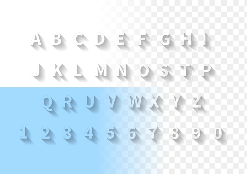 Transparent Letters With Long Shadow Symbol Fonts Creative Market