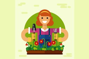 Girl Gardening Vector Illustration