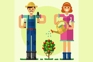 Boy & Girl Gardening Vector